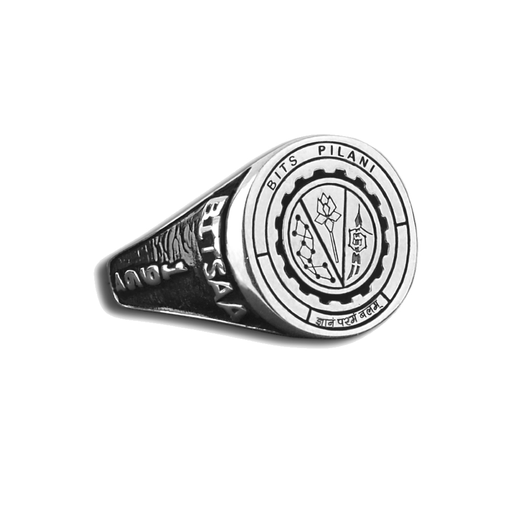 BITS Pilani Silver Ring Right View By Khwaish Jewels