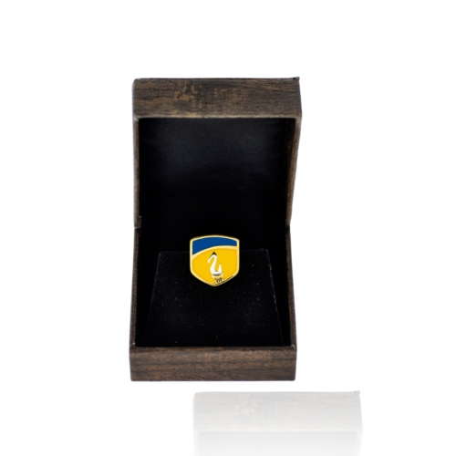 Amity university silver pin box inside front view by KHWAISH