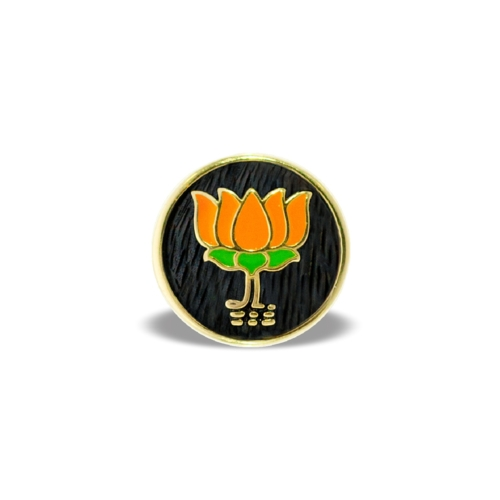 BJP Lapel Pin in Sterling Silver 18K Gold Polish by Khwaish Jewels