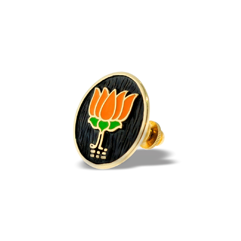 BJP Lapel Pin in Sterling Silver 18K Gold Polish Left by Khwaish Jewels