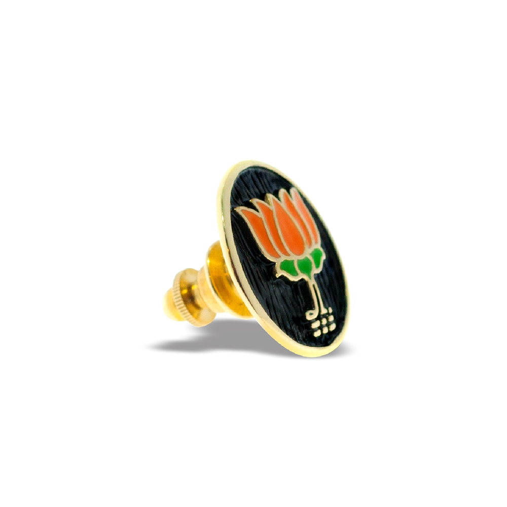 BJP Lapel Pin in Sterling Silver 18K Gold Polish Right by Khwaish Jewels