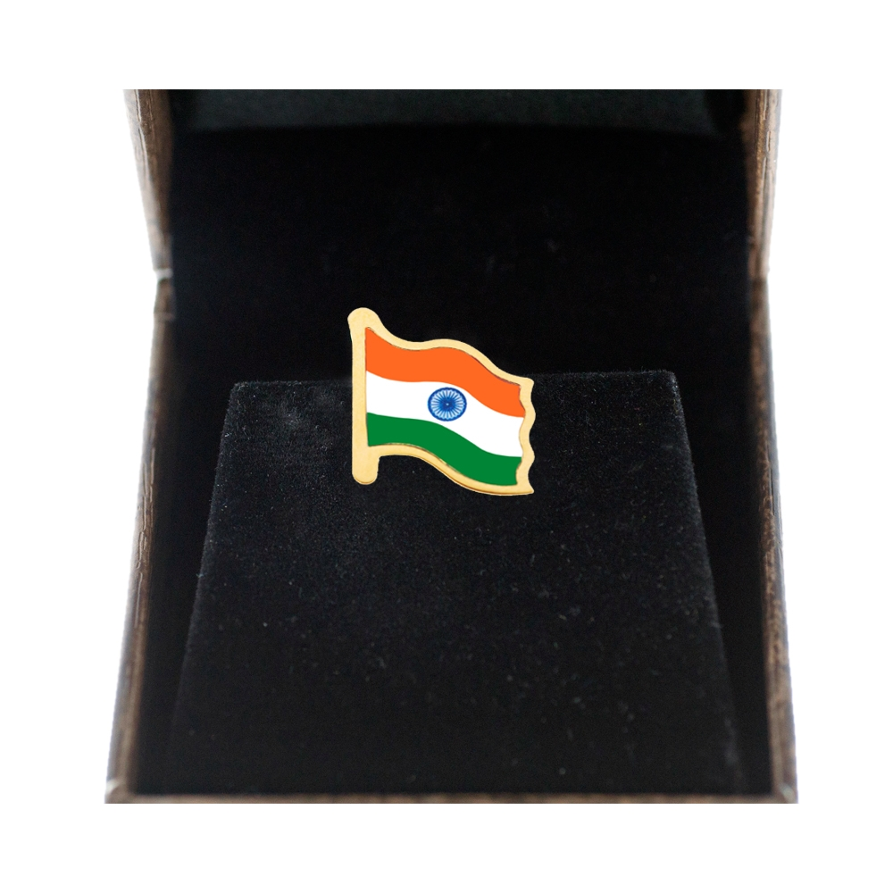 Gold Indian Flag Front Side by Khwaish Jewels