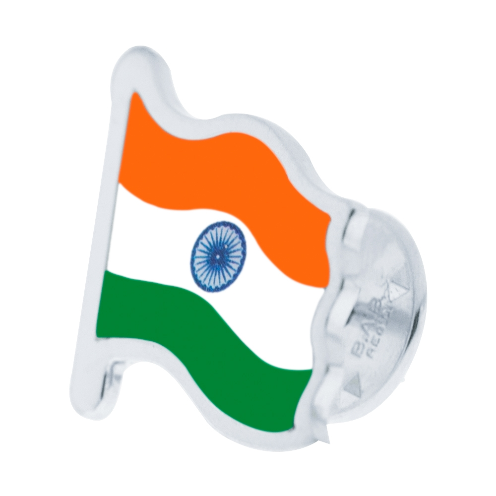 Sterling Silver Indian Flag Right Side by Khwaish Jewels