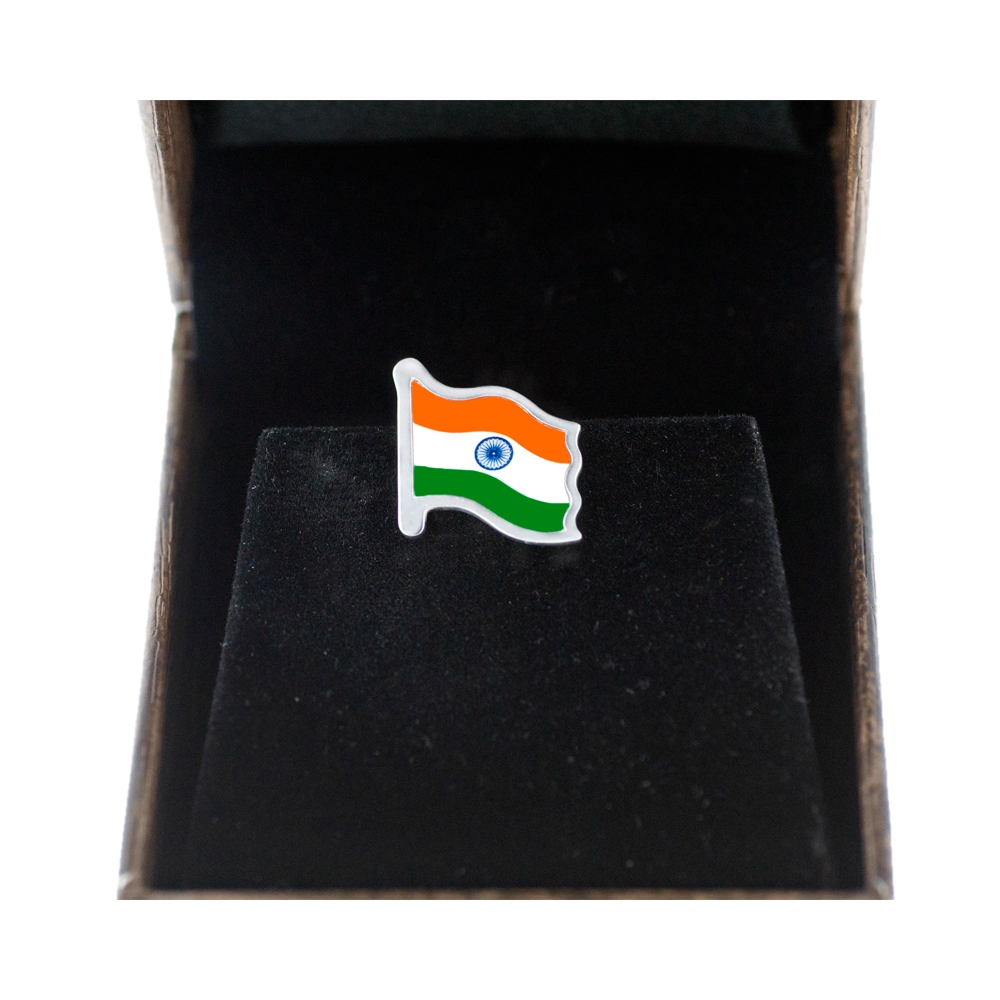 Sterling Silver Indian Flag Box Front by Khwaish Jewels